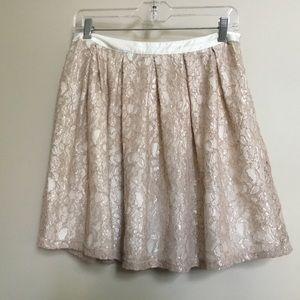 FRANCESCA'S COLLECTION neutral tan lace skirt L